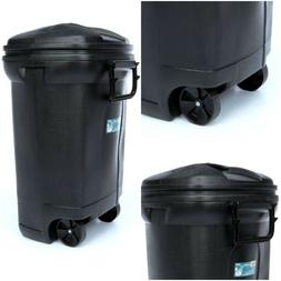 Durable Outdoor 45-Gallon Trash Can w/ Wheels and Lid Large