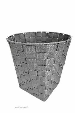 Durable Woven Nylon Grey Office Living Room Waste Basket Tra