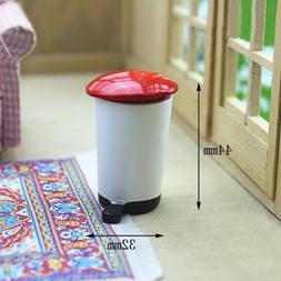 DV_ Mini Wood Trash Can Garbage Bin Dollhouse Miniature Mode