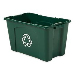 Rubbermaid Commercial Stackable Recycling Bin, 18 Gallon, Gr