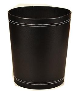 Figella floor stand leather waste bin recycle trash can wood