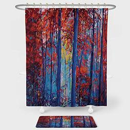 Forest Shower Curtain And Floor Mat Combination Set Oil Pain