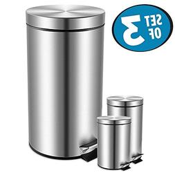Trash Can Set of 3,Fortune Candy Round Stainless Steel Garba
