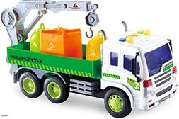 Memtes Friction Powered Garbage Crane Truck Toy with Lights