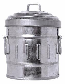"Galvanized Tin Desktop GARBAGE CAN with Lid Vintage-Look, 4"""