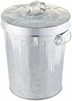"""Galvanized Tin Small GARBAGE CAN Vintage-Look, 7.5"""" Tall, by"""