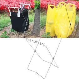 Garbage Bag Hanger Stainless Steel Trash Bag Rack Folding Tr