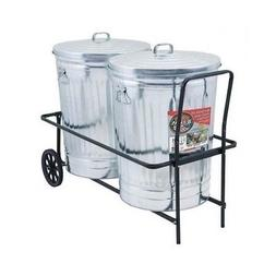 Garbage Can Cart Rolling Trash Caddy 250 lb Capacity Rubber