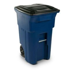 Garbage Can with Wheels and Attached Lid 64 Gallon Blue Indo