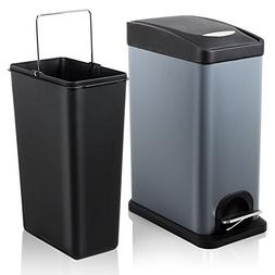 H+LUX Trash Can with Lid, Small Rectangular Trash Can with R