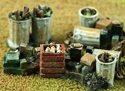 GARBAGE CANS & TRASH PILES O On30 Model Railroad or Diorama