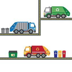 Garbage Truck Wall Decals Recycling Truck Decals with 15 Ft
