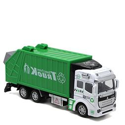 Odowalker Garbage Truck Toy Vehicle Green Pull-back Realisti