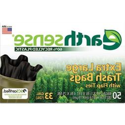 Earthsense GES6FTL50CT Large Trash Bags, 33 gal, 0.75 mil, 3