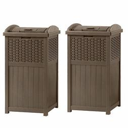 Suncast GHW1732 Home Outdoor Patio Resin Wicker Trash Can Hi