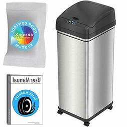 iTouchless Glide Sensor Trash Can with Wheels and Odor Contr