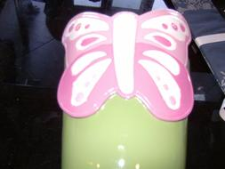 Pottery Barn Kids green pink butterfly trash garbage can New