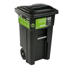32 Gal. Green Trash Sealed Stop Bar Journals Can with Wheels