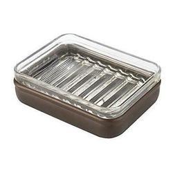 InterDesign Hamilton Glass Soap Dish, Clear/Bronze Luxurious