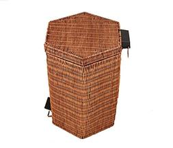 Wly&Home Hand-Woven Trash Can, Rattan Paper Basket, Pedal Ty