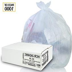 Aluf Plastics 7-8 Gallon Clear Trash Bags  - 24' x 24' - Hig