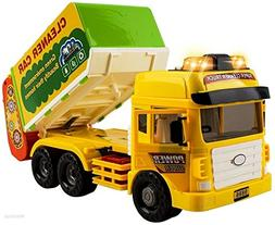 WolVol Heavy-Duty Friction Powered Garbage Truck - Durable L