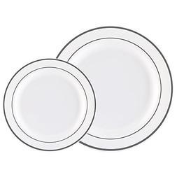 60PCS Heavyweight White with Silver Rim Wedding Party Plasti
