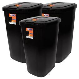 Hefty Touch-Lid 13.3-Gallon Trash Can, Black, 3 Pack