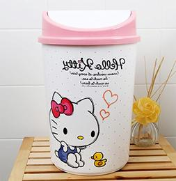 Shabath Hello Kitty Letter Wastebasket Trash Can 13""