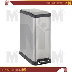 Home Zone Stainless Steel Kitchen Trash Can with Rectangular