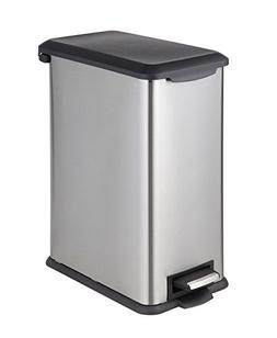 HomeZone 30-Liter Stainless Steel Rectangular Step Trash Can