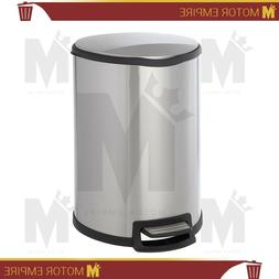 Home Zone Stainless Steel Kitchen Trash Can with Semi-Round