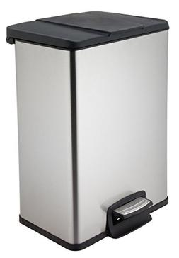 Home Zone Trash Bin 40L Stainless Steel Rectangular Pedal