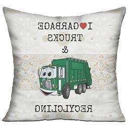 Nngsiko I Love Garbage Trucks  Decorative Square Accent Pill