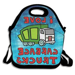I Love Garbage Trucks Insulated Lunch Bag With Zipper,Carry