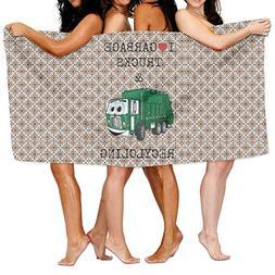 Hgjoafnkln I Love Garbage Trucks  Wrap Bath Shower Towel For