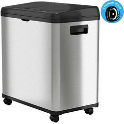 iTouchless IT16RB Dual Compartment Recycle Can, Silver Metal