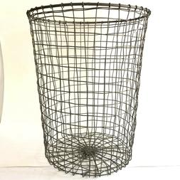 Industrial Gray Metal Wire Waste Basket Garbage Can Containe