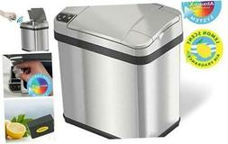 iTouchless 2.5 Gallon Sensor Garbage Can with AbsorbX Odor F