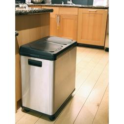 iTouchless 16 Gallon Stainless Steel Dual Trash/Recycle Can