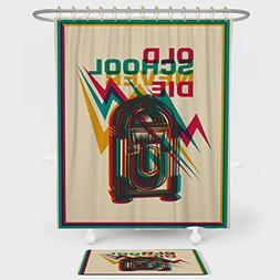 Jukebox Shower Curtain And Floor Mat Combination Set Old Sch