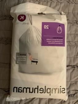 K Simplehuman Plastic Trash Can Liners K 9-12 Gallon 20 Pack
