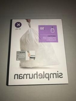 K Simplehuman Plastic Trash Can Liners K 9-12 Gallon 50 Pack