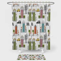 iPrint Kitchen Decor Shower Curtain And Floor Mat Combinatio
