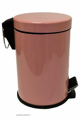 0.8G/3L Kitchen/Bathroom Pink Powder Coated Steel Trash Can