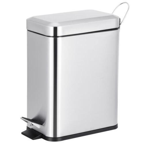1.3 Gallon Rectangular Small Steel Step Trash Can Wastebaske