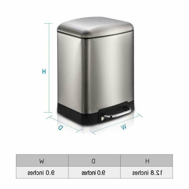 1.58 Gallon Style Stainless Steel Pedal Trash Can