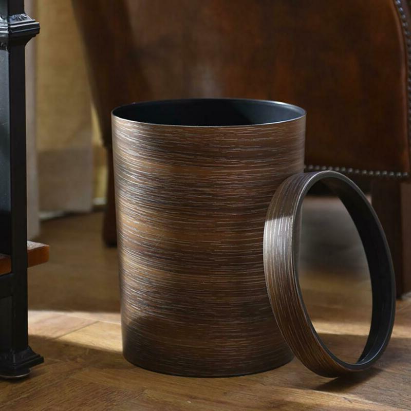 10L Wood Trash Bin Wastebasket Can Garbage For Kitchen
