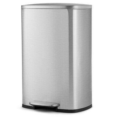 13.2 Gallon Trash Garbage Can Stainless Steel Airtight Bin W