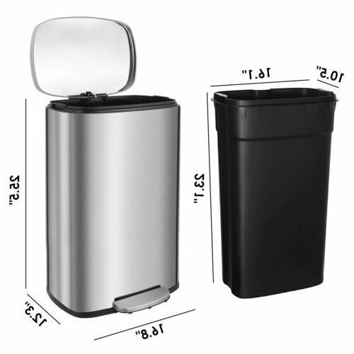 13 Gallon/50 L Steel Rectangular Garbage Bin Office Kitchen Trash